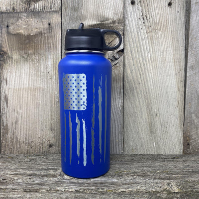 Distressed Flag 32oz Hydro Bottle Water Bottles Hells Canyon Art Glass and Laser Blue