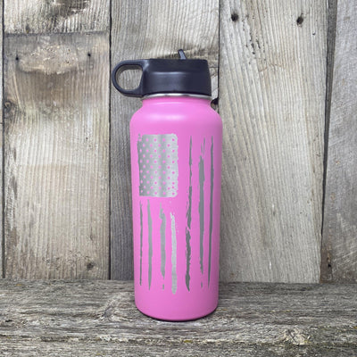 Distressed Flag 32oz Hydro Bottle Water Bottles Hells Canyon Art Glass and Laser Pink