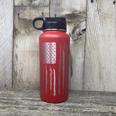 Distressed Flag 32oz Hydro Bottle Water Bottles Hells Canyon Art Glass and Laser Red
