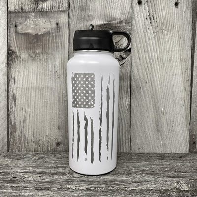 Distressed Flag 32oz Hydro Bottle Water Bottles Hells Canyon Art Glass and Laser White