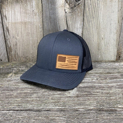 Distressed Flag Leather Patch Hat Leather Patch Hats Hells Canyon Designs Charcoal/Black