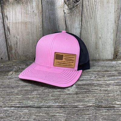 Distressed Flag Leather Patch Hat Leather Patch Hats Hells Canyon Designs Pink/Black