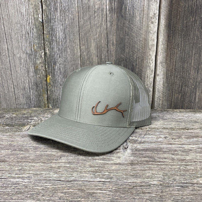ELK HORN RICHARDSON LEATHER PATCH HAT Leather Patch Hats Hells Canyon Designs Loden