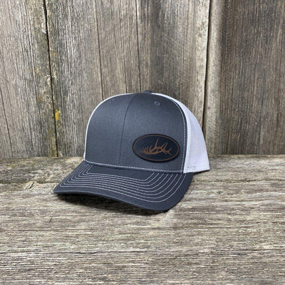 ELK RACK BLACK LEATHER PATCH HAT - RICHARDSON 112 Leather Patch Hats Hells Canyon Designs