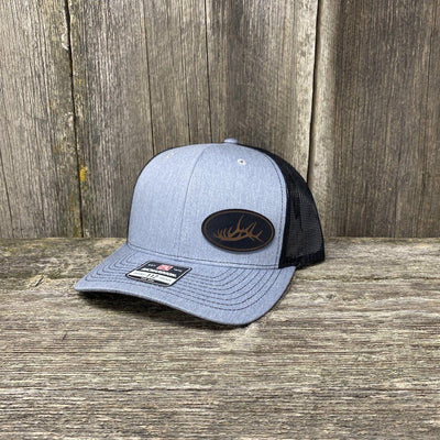 ELK RACK BLACK LEATHER PATCH HAT - RICHARDSON 112 Leather Patch Hats Hells Canyon Designs Heather/Black