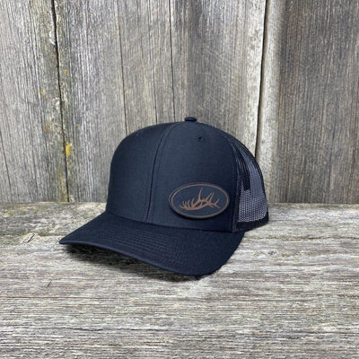 ELK RACK BLACK LEATHER PATCH HAT - RICHARDSON 112 Leather Patch Hats Hells Canyon Designs Solid Black