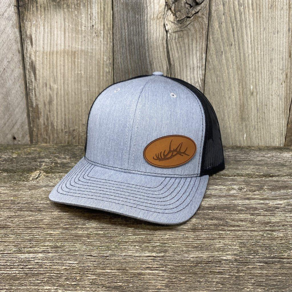 Elk Rack Hat Leather Patch Hats Hells Canyon Designs Heather/Black