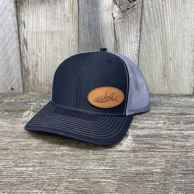 ELK RACK LEATHER PATCH HAT - RICHARDSON 112 Leather Patch Hats Hells Canyon Designs Charcoal/Grey