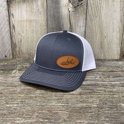 ELK RACK LEATHER PATCH HAT - RICHARDSON 112 Leather Patch Hats Hells Canyon Designs Heather/White