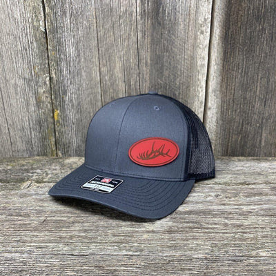 ELK RACK RED LEATHER PATCH HAT - RICHARDSON 112 Leather Patch Hats Hells Canyon Designs