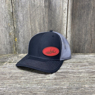 ELK RACK RED LEATHER PATCH HAT - RICHARDSON 112 Leather Patch Hats Hells Canyon Designs Black/Charcoal