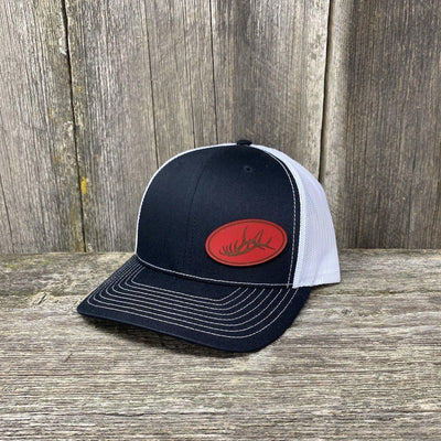ELK RACK RED LEATHER PATCH HAT - RICHARDSON 112 Leather Patch Hats Hells Canyon Designs Black/White