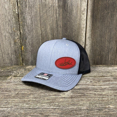 ELK RACK RED LEATHER PATCH HAT - RICHARDSON 112 Leather Patch Hats Hells Canyon Designs Heather/Black