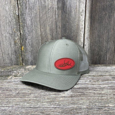 ELK RACK RED LEATHER PATCH HAT - RICHARDSON 112 Leather Patch Hats Hells Canyon Designs Loden
