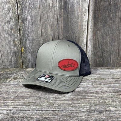 ELK RACK RED LEATHER PATCH HAT - RICHARDSON 112 Leather Patch Hats Hells Canyon Designs Loden/Black