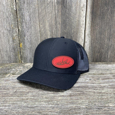 ELK RACK RED LEATHER PATCH HAT - RICHARDSON 112 Leather Patch Hats Hells Canyon Designs Solid Black