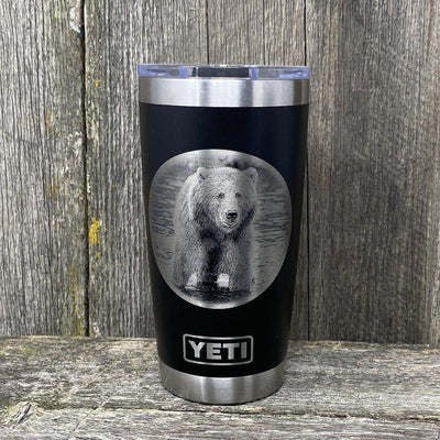 GRIZZLY BEAR BLACK 20 OZ YETI TUMBLER Tumbler Hells Canyon Designs
