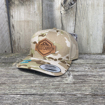 Hells Canyon Patch Hat Yupoong Leather Patch Hats Hells Canyon Designs Desert Camo/Black