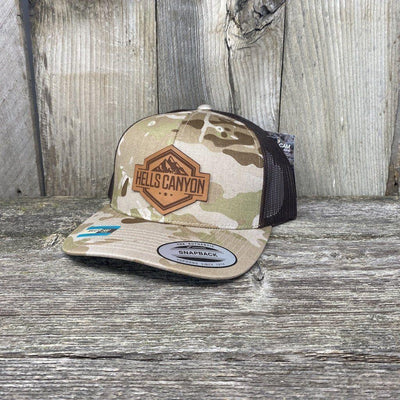 Hells Canyon Patch Hat Yupoong Leather Patch Hats Hells Canyon Designs Desert Camo/Brown