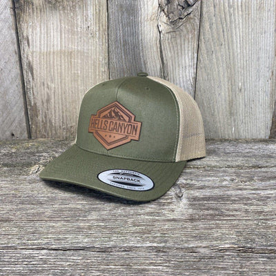 Hells Canyon Patch Hat Yupoong Leather Patch Hats Hells Canyon Designs Loden/Tan