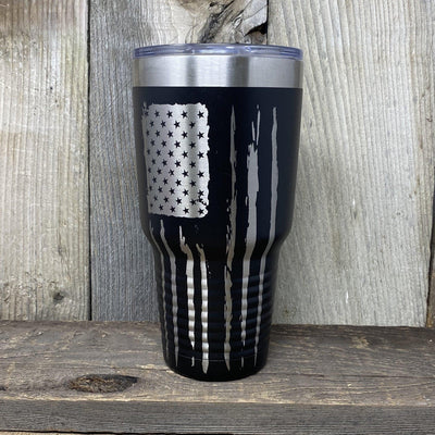 Patriotic 30oz Tumbler Tumbler Hells Canyon Art Glass and Laser Black