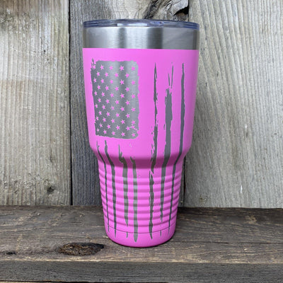 Patriotic 30oz Tumbler Tumbler Hells Canyon Art Glass and Laser Pink
