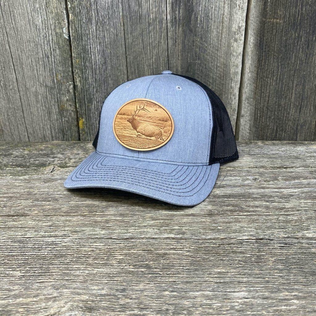 RIVER ELK LEATHER PATCH HAT - RICHARDSON 112 Leather Patch Hats Hells Canyon Designs Heather/Black