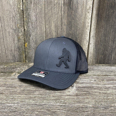 SASQUATCH BLACK LEATHER PATCH HAT RICHARDSON 112 Leather Patch Hats Hells Canyon Designs Charcoal/Black