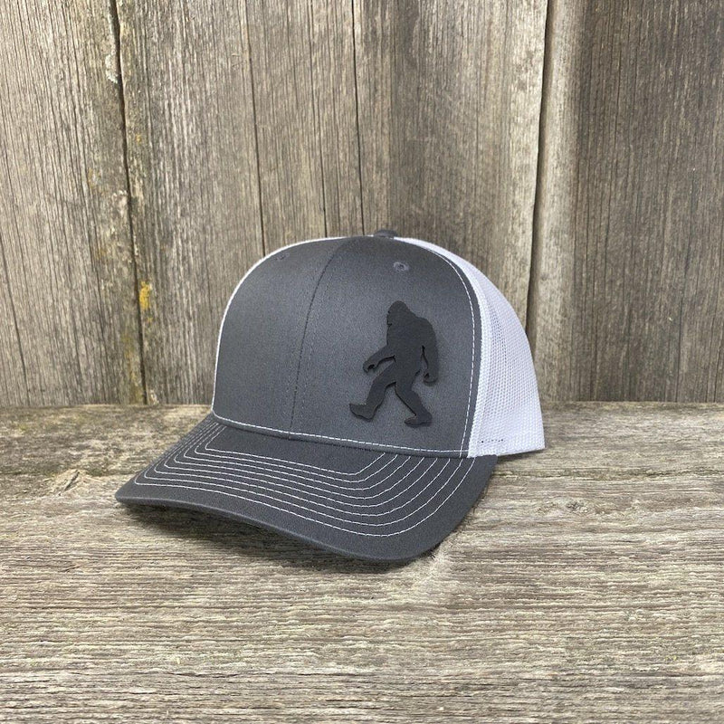 SASQUATCH BLACK LEATHER PATCH HAT RICHARDSON 112 Leather Patch Hats Hells Canyon Designs Black/Grey