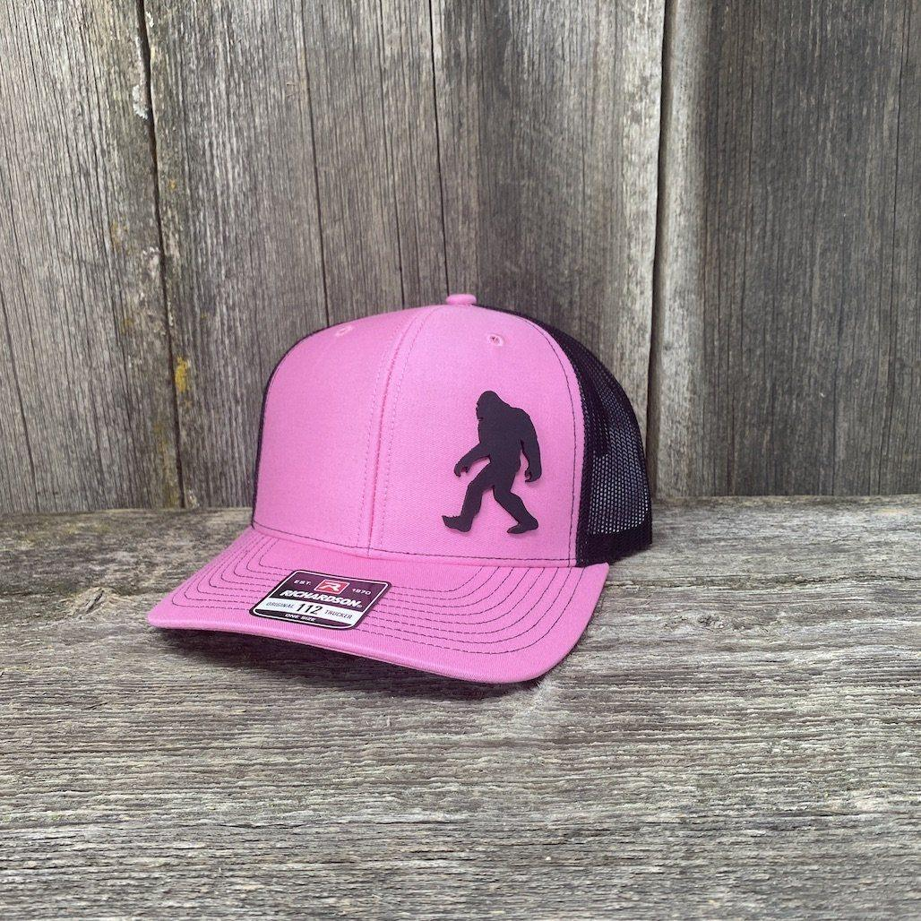 SASQUATCH BLACK LEATHER PATCH HAT RICHARDSON 112 Leather Patch Hats Hells Canyon Designs Pink/Black