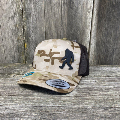 SASQUATCH BLACK LEATHER PATCH HAT - SNAPBACK Leather Patch Hats Hells Canyon Designs Arid/Brown Multicam