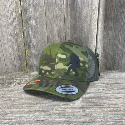 SASQUATCH BLACK LEATHER PATCH HAT - SNAPBACK Leather Patch Hats Hells Canyon Designs Green Jungle Multicam