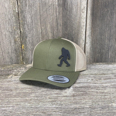 SASQUATCH BLACK LEATHER PATCH HAT - SNAPBACK Leather Patch Hats Hells Canyon Designs Loden/Tan