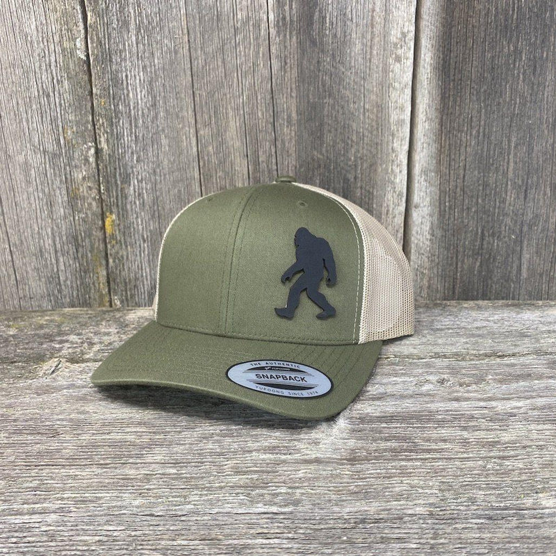 SASQUATCH BLACK LEATHER PATCH HAT - SNAPBACK Leather Patch Hats Hells Canyon Designs Arid/Tan Multicam