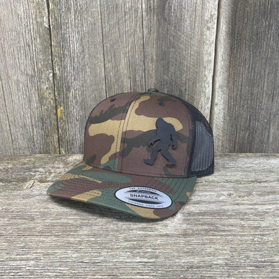 SASQUATCH BLACK LEATHER PATCH HAT - SNAPBACK Leather Patch Hats Hells Canyon Designs Tropical Multicam