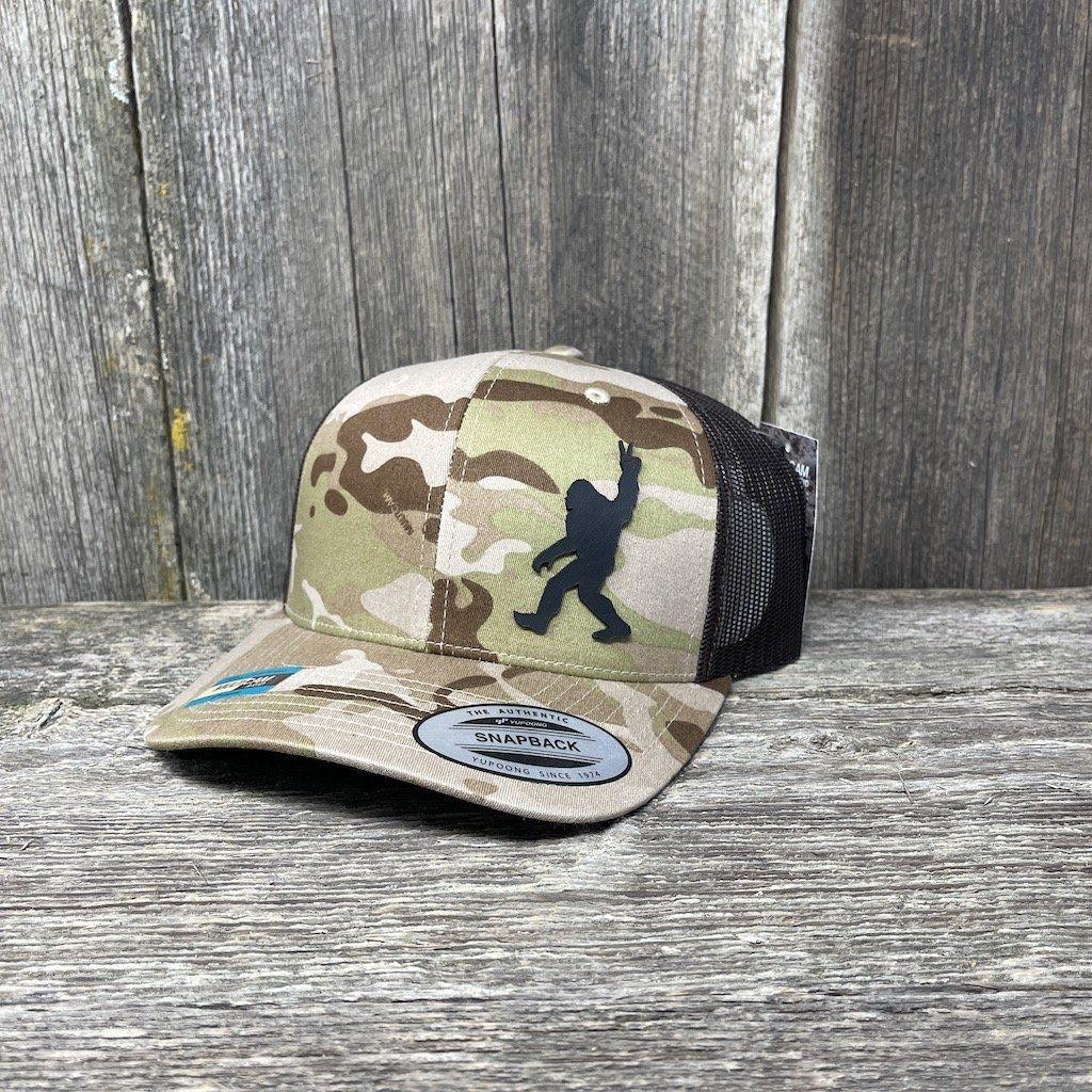 SASQUATCH BLACK LEATHER PEACE PATCH - FLEXFIT SNAPBACK Leather Patch Hats Hells Canyon Designs Arid/Brown Multicam
