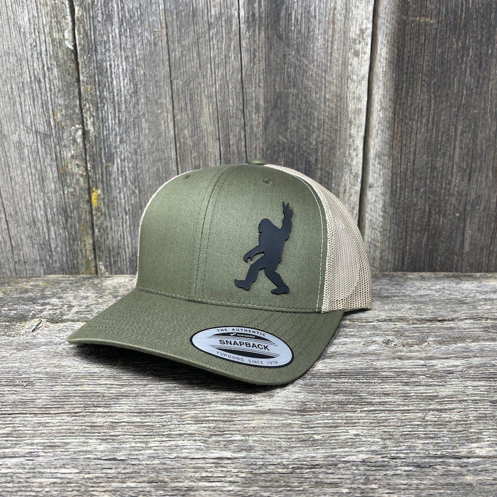 SASQUATCH BLACK LEATHER PEACE PATCH - FLEXFIT SNAPBACK Leather Patch Hats Hells Canyon Designs Loden/Tan