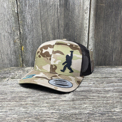 SASQUATCH BLACK LEATHER SHAKA PATCH - FLEXFIT-SNAPBACK Leather Patch Hats Hells Canyon Designs Arid/Brown Multicam