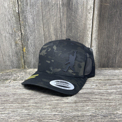 SASQUATCH BLACK LEATHER SHAKA PATCH - FLEXFIT-SNAPBACK Leather Patch Hats Hells Canyon Designs Black Multicam