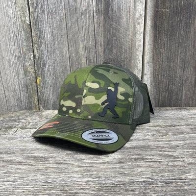 SASQUATCH BLACK LEATHER SHAKA PATCH - FLEXFIT-SNAPBACK Leather Patch Hats Hells Canyon Designs Green Jungle Multicam