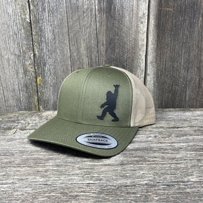 SASQUATCH BLACK LEATHER SHAKA PATCH - FLEXFIT-SNAPBACK Leather Patch Hats Hells Canyon Designs Loden/Tan