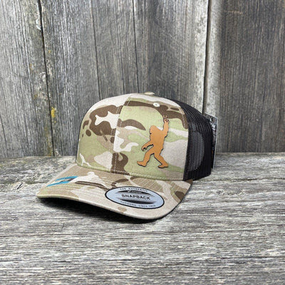 SASQUATCH CHESTNUT LEATHER PEACE PATCH - FLEXFIT-SNAPBACK Leather Patch Hats Hells Canyon Designs Arid/Brown Multicam