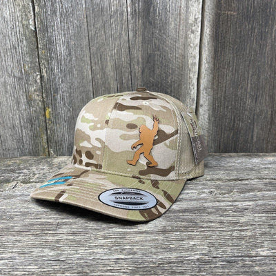 SASQUATCH CHESTNUT LEATHER PEACE PATCH - FLEXFIT-SNAPBACK Leather Patch Hats Hells Canyon Designs Arid/Tan Multicam
