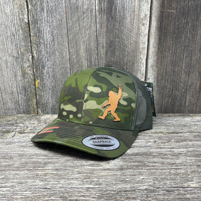 SASQUATCH CHESTNUT LEATHER PEACE PATCH - FLEXFIT-SNAPBACK Leather Patch Hats Hells Canyon Designs Green Jungle Multicam