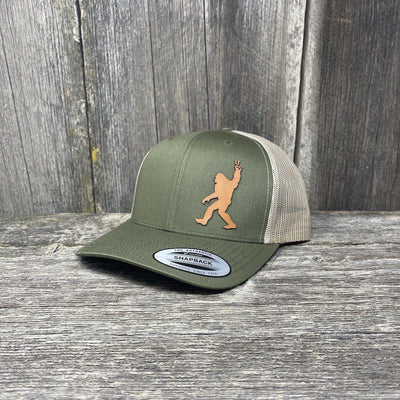 SASQUATCH CHESTNUT LEATHER PEACE PATCH - FLEXFIT-SNAPBACK Leather Patch Hats Hells Canyon Designs Loden/Tan