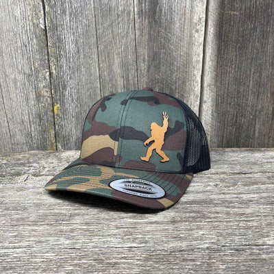 SASQUATCH CHESTNUT LEATHER PEACE PATCH - FLEXFIT-SNAPBACK Leather Patch Hats Hells Canyon Designs Tropical Multicam