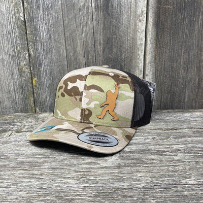 SASQUATCH CHESTNUT LEATHER SHAKA PATCH - FLEXFIT-SNAPBACK Leather Patch Hats Hells Canyon Designs Arid/Brown Multicam
