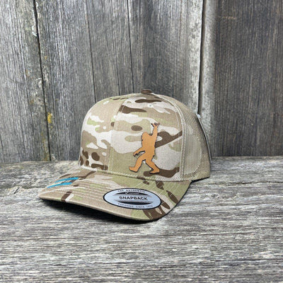 SASQUATCH CHESTNUT LEATHER SHAKA PATCH - FLEXFIT-SNAPBACK Leather Patch Hats Hells Canyon Designs Arid/Tan Multicam
