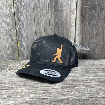SASQUATCH CHESTNUT LEATHER SHAKA PATCH - FLEXFIT-SNAPBACK Leather Patch Hats Hells Canyon Designs Black Multicam