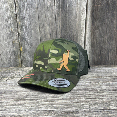 SASQUATCH CHESTNUT LEATHER SHAKA PATCH - FLEXFIT-SNAPBACK Leather Patch Hats Hells Canyon Designs Green Jungle Multicam